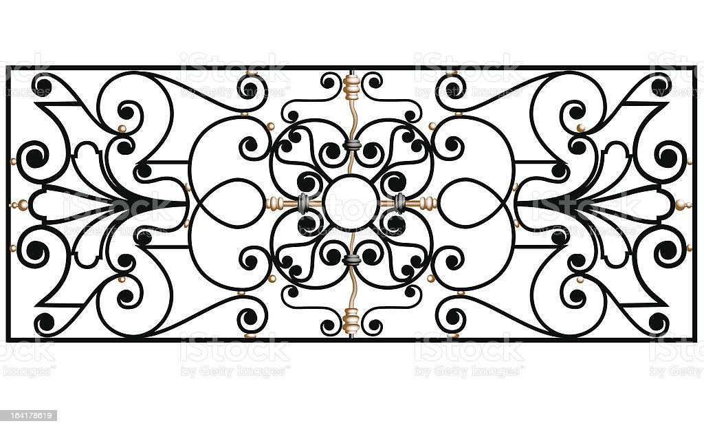 Ancient iron fencing royalty-free stock vector art