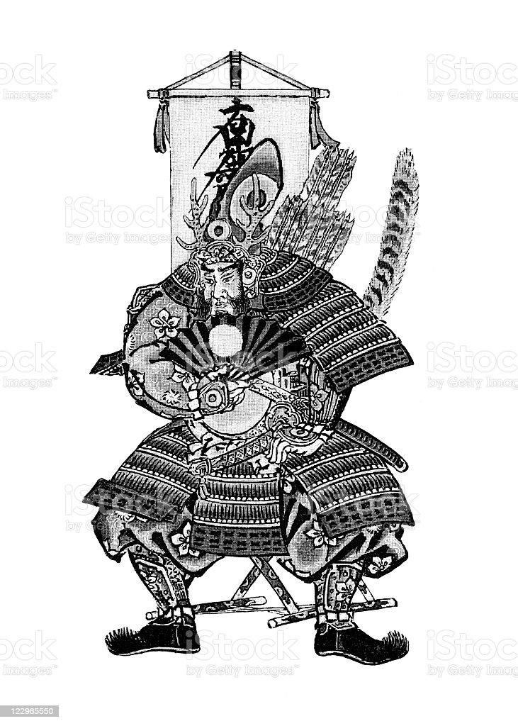 Ancient Japanese Emperor in Warrior Dress royalty-free stock vector art