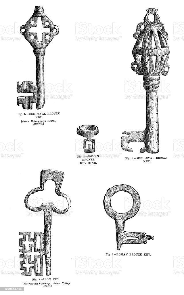 Ancient Keys royalty-free stock vector art