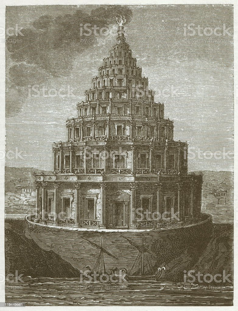 Ancient lighthouse of Alexandria, wood engraving, published in 1882 vector art illustration