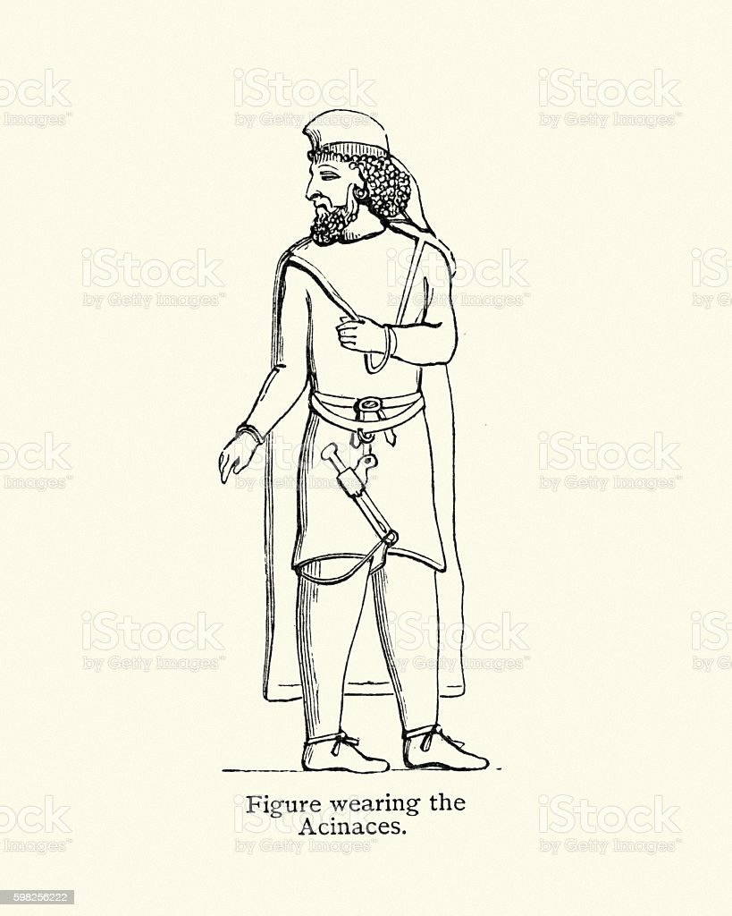 Ancient man wearing a Acinaces vector art illustration