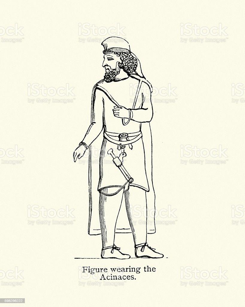 Ancient man wearing a Acinaces vector art illustration