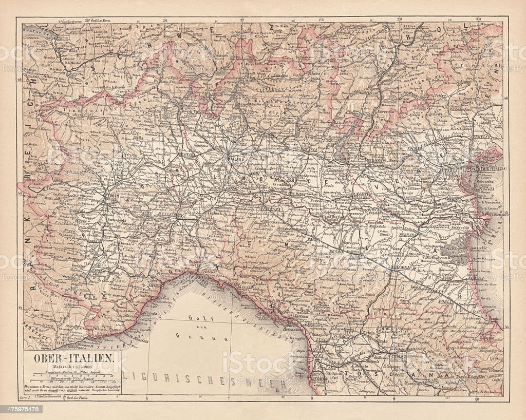 Ancient map of Northern Italy, lithograph, published in 1876 vector art illustration