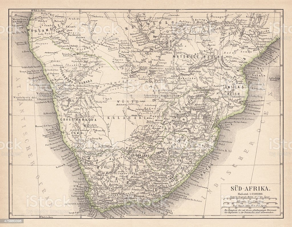 Ancient map of South Africa, published in 1876 vector art illustration
