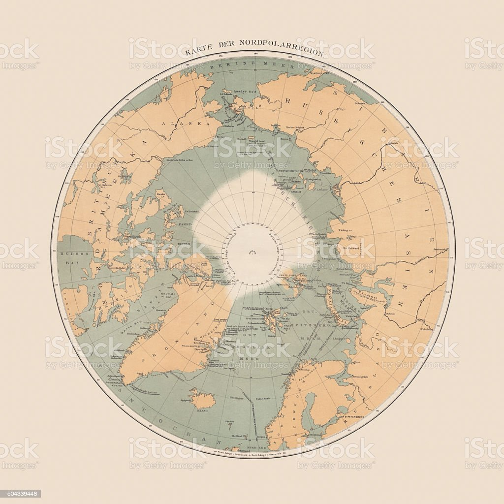 Ancient map of the Arctic Region, lithograph, published in 1883 vector art illustration