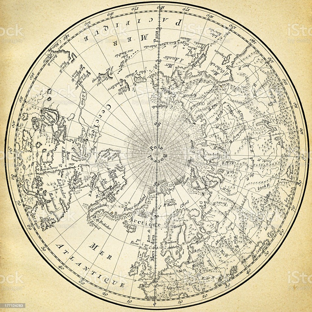 Ancient map of the world on old paper royalty-free stock vector art