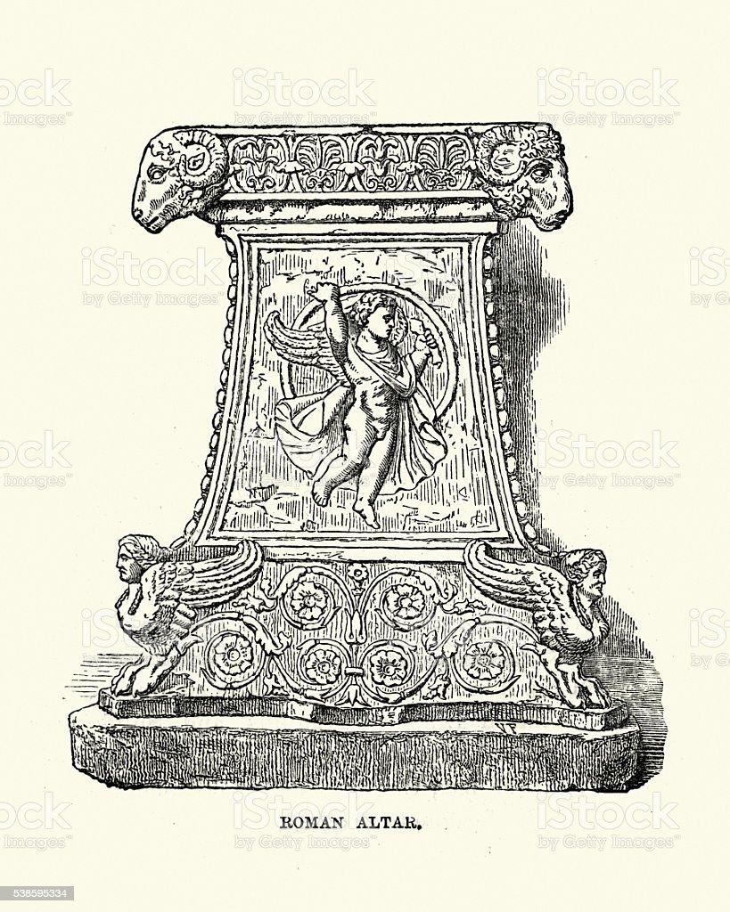 Ancient Roman Altar vector art illustration