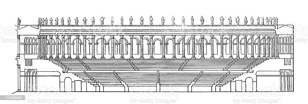 Ancient Roman Amphitheatre | Antique Architectural Illustrations royalty-free stock vector art