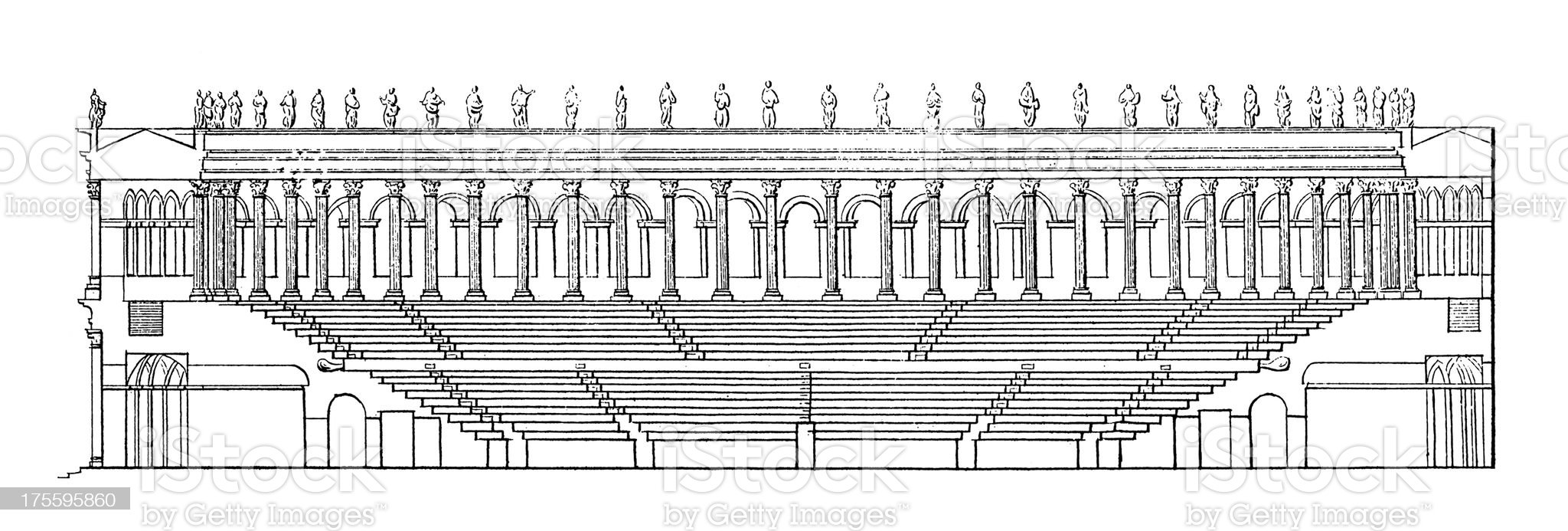Ancient Roman Amphitheatre   Antique Architectural Illustrations royalty-free stock vector art