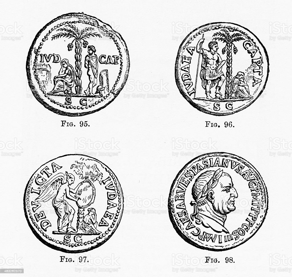 Ancient Roman and Greek Coins with Christian Symbolism Engraving vector art illustration