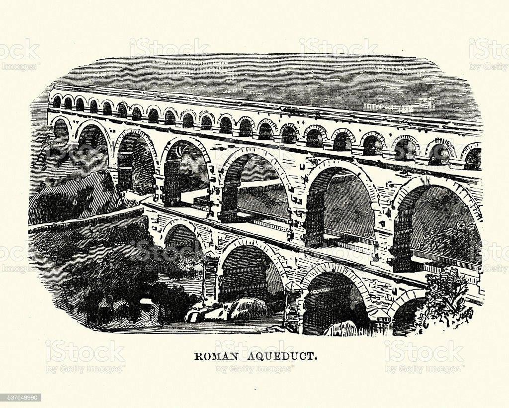 Ancient Roman Aqueduct vector art illustration