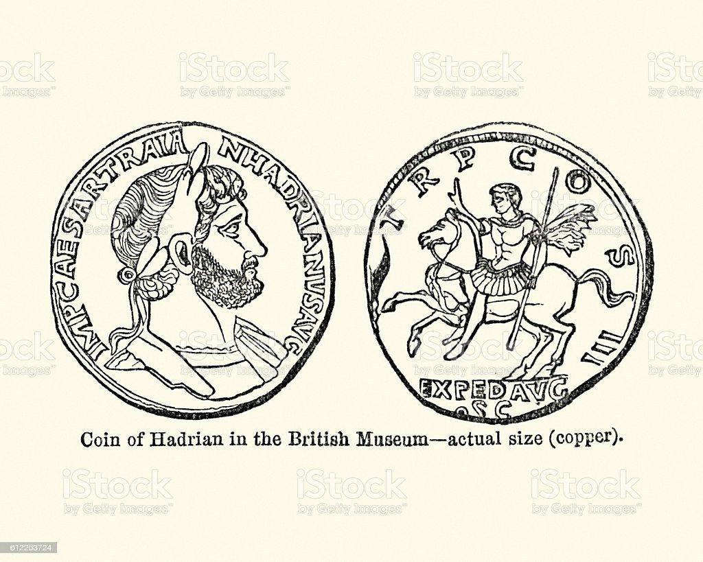 Ancient roman coin showing the Emperor Hadrian vector art illustration