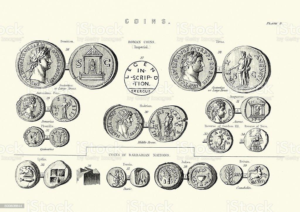 Ancient Roman Coins vector art illustration