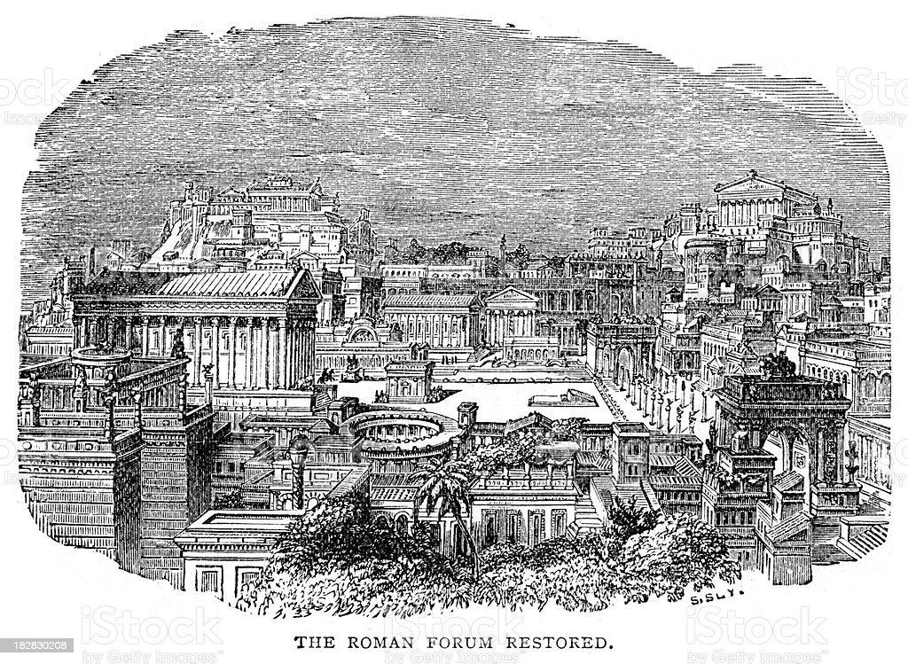 Ancient Roman Forum restored royalty-free stock vector art