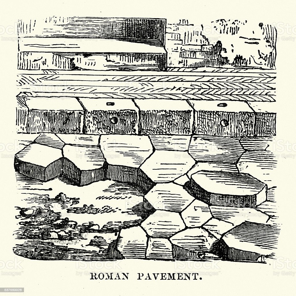 Ancient Roman Pavement vector art illustration