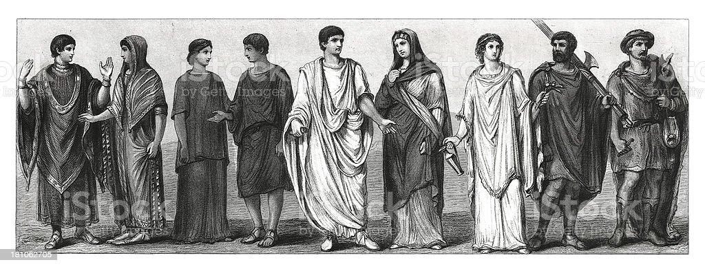 Ancient Roman people vector art illustration