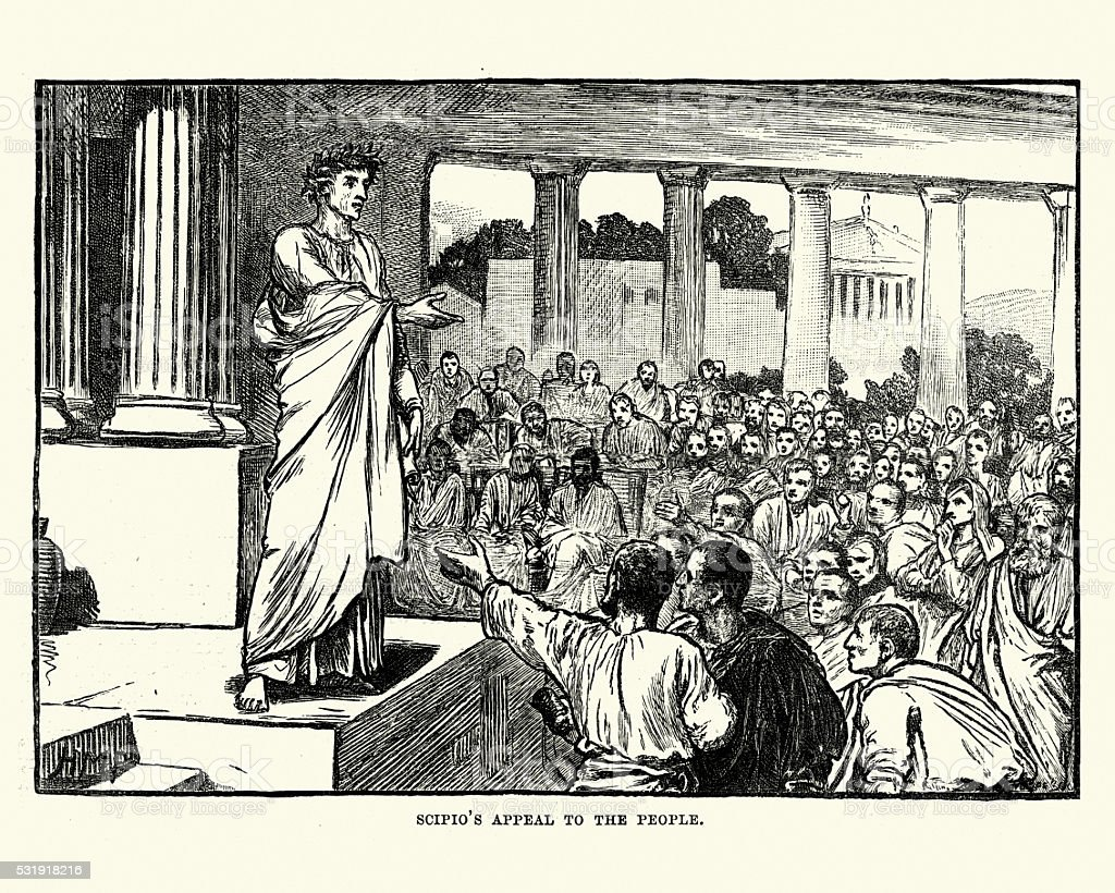 Ancient Roman Scipio's appeal to the people vector art illustration