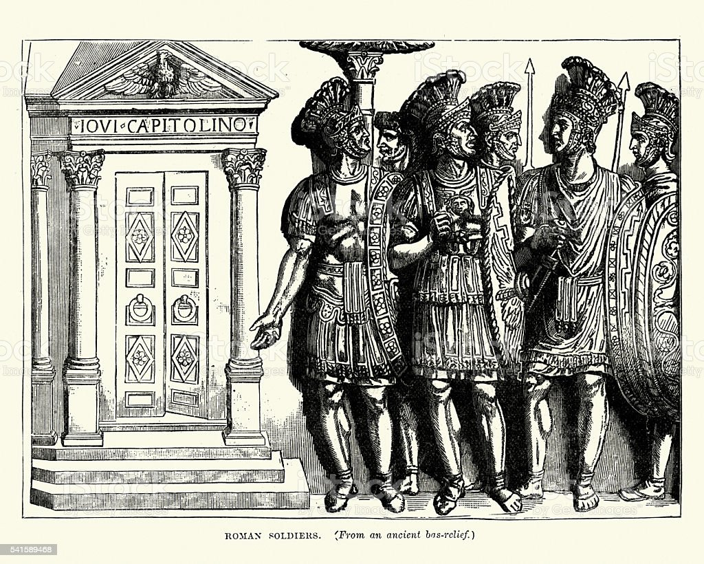 Ancient Roman Soldiers vector art illustration
