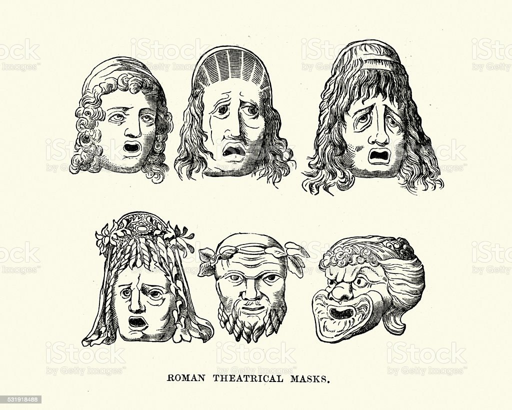Ancient Roman Theatrical Masks vector art illustration