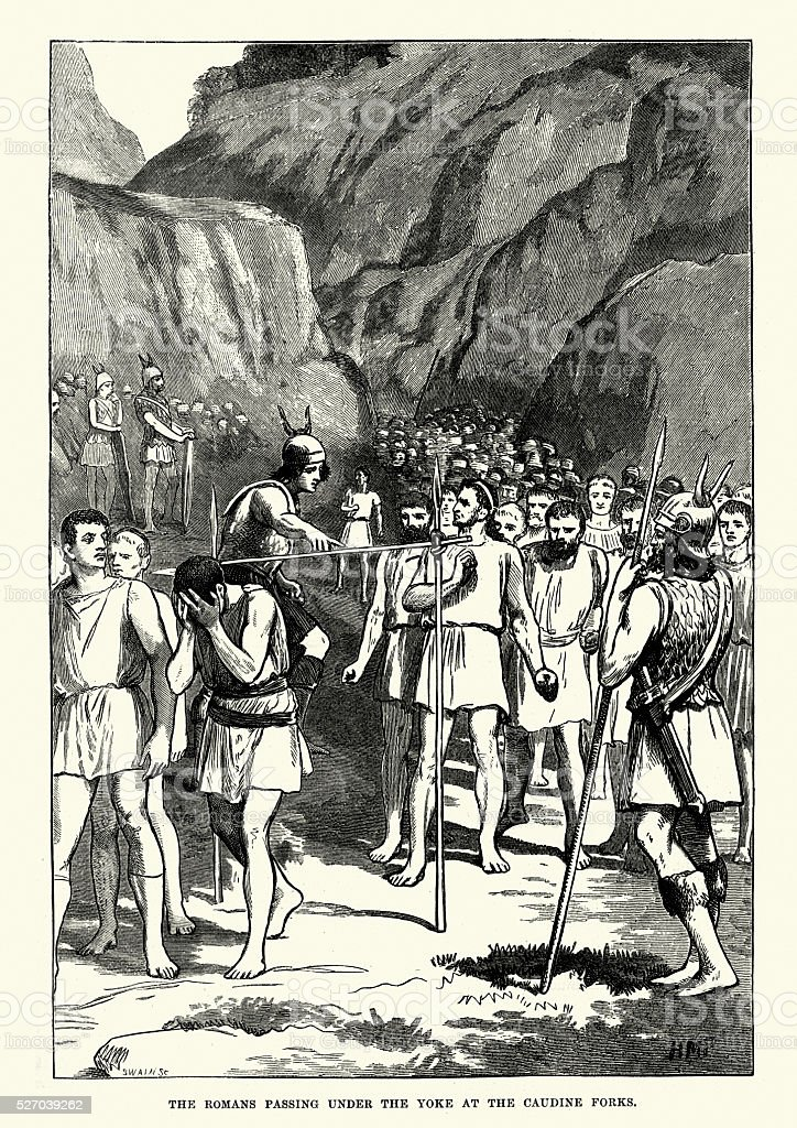 Ancient Romans passing under the yoke at the Caudine Forks vector art illustration