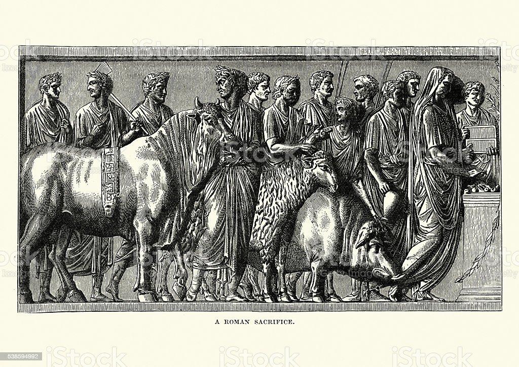 Ancient Romans sacrificing animals to the gods vector art illustration