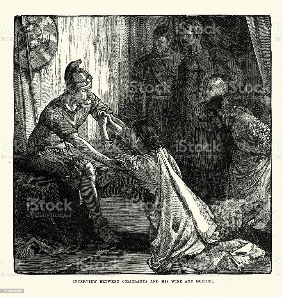 Ancient Rome - Coriolanus and his wife and mother vector art illustration