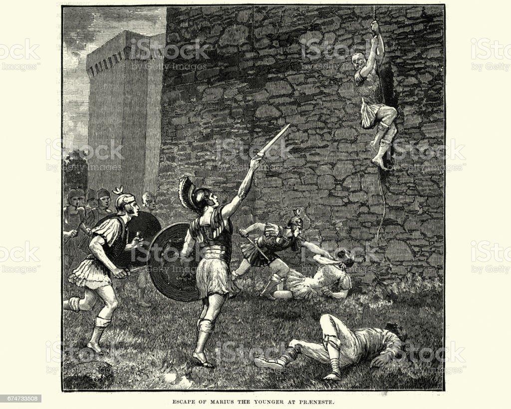 Ancient Rome - escape of Gaius Marius the Younger, Praeneste vector art illustration