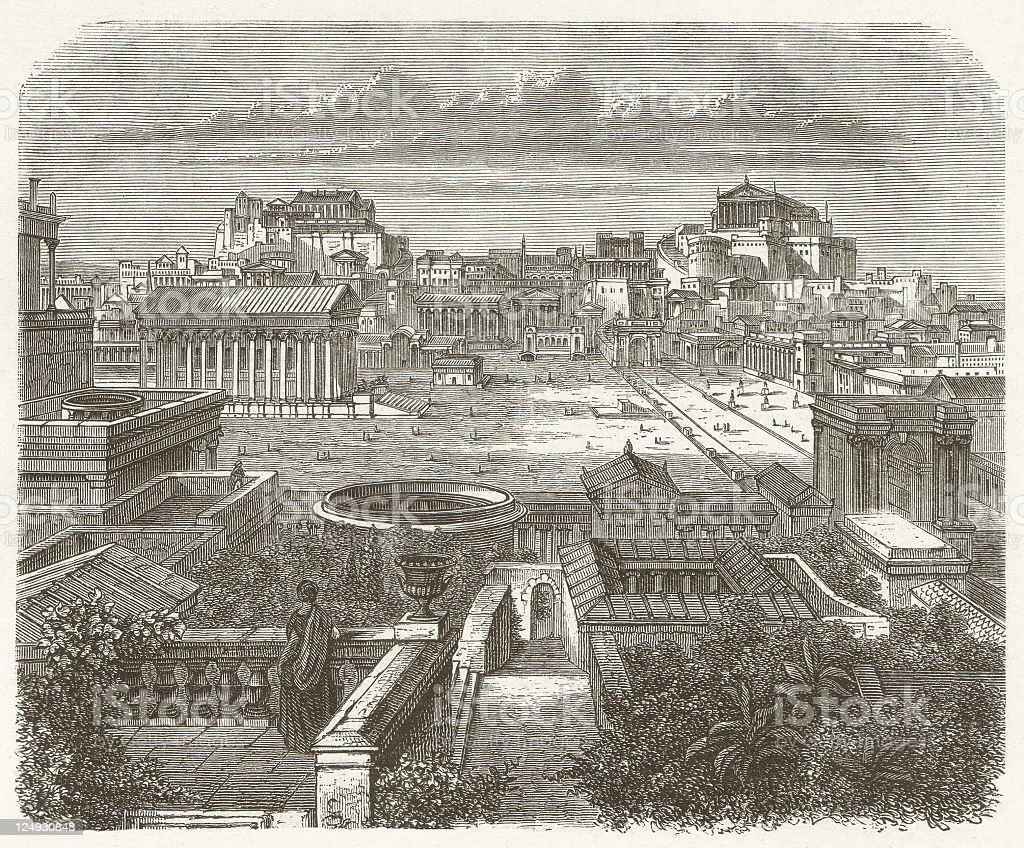 Ancient Rome, Forum Romanum, wood engraving, published in 1881 vector art illustration
