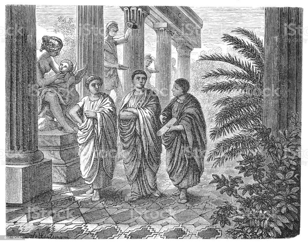 Ancient Rome - Galenus (Galien) - School Medicine vector art illustration