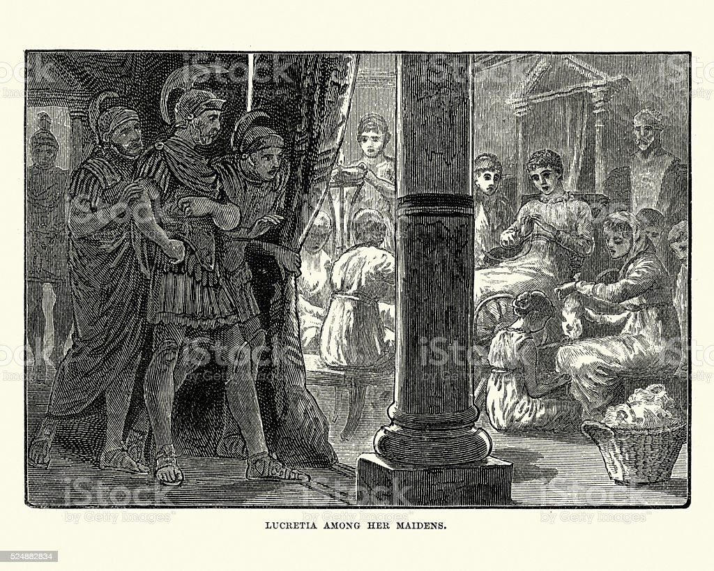 Ancient Rome - Lucretia amoung her maidens vector art illustration