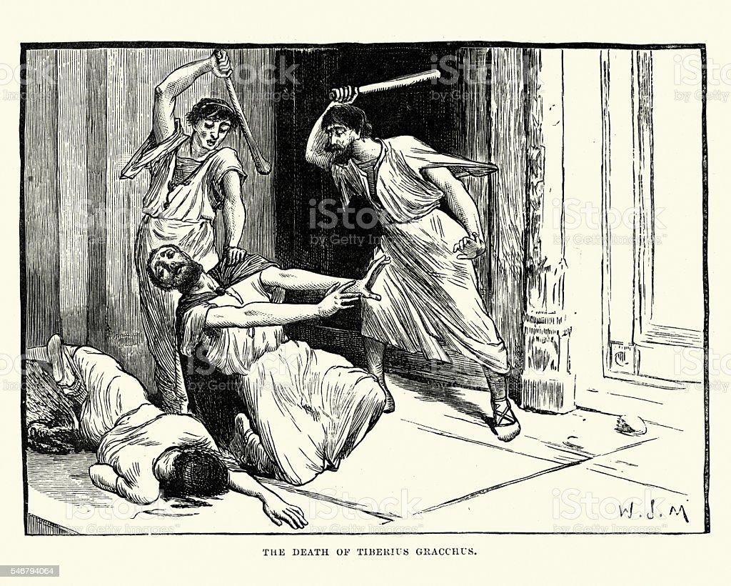 Ancient Rome - Murder of Tiberius Gracchus vector art illustration