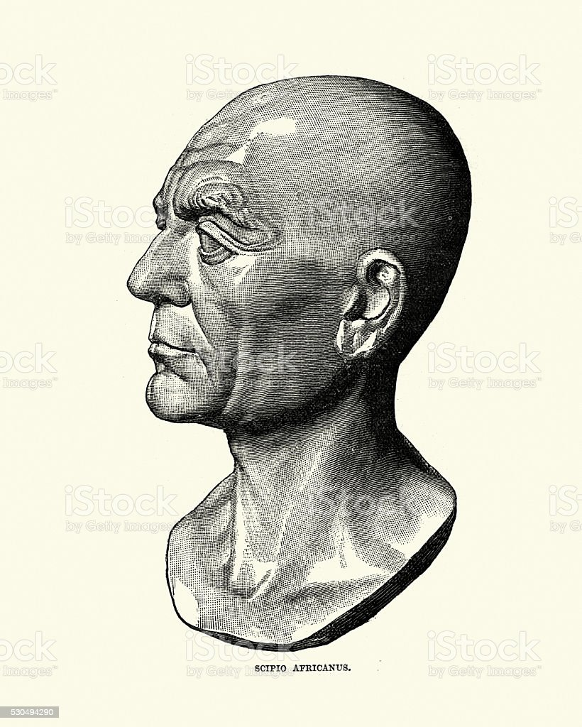 Ancient Rome - Portrait of Scipio Africanus vector art illustration