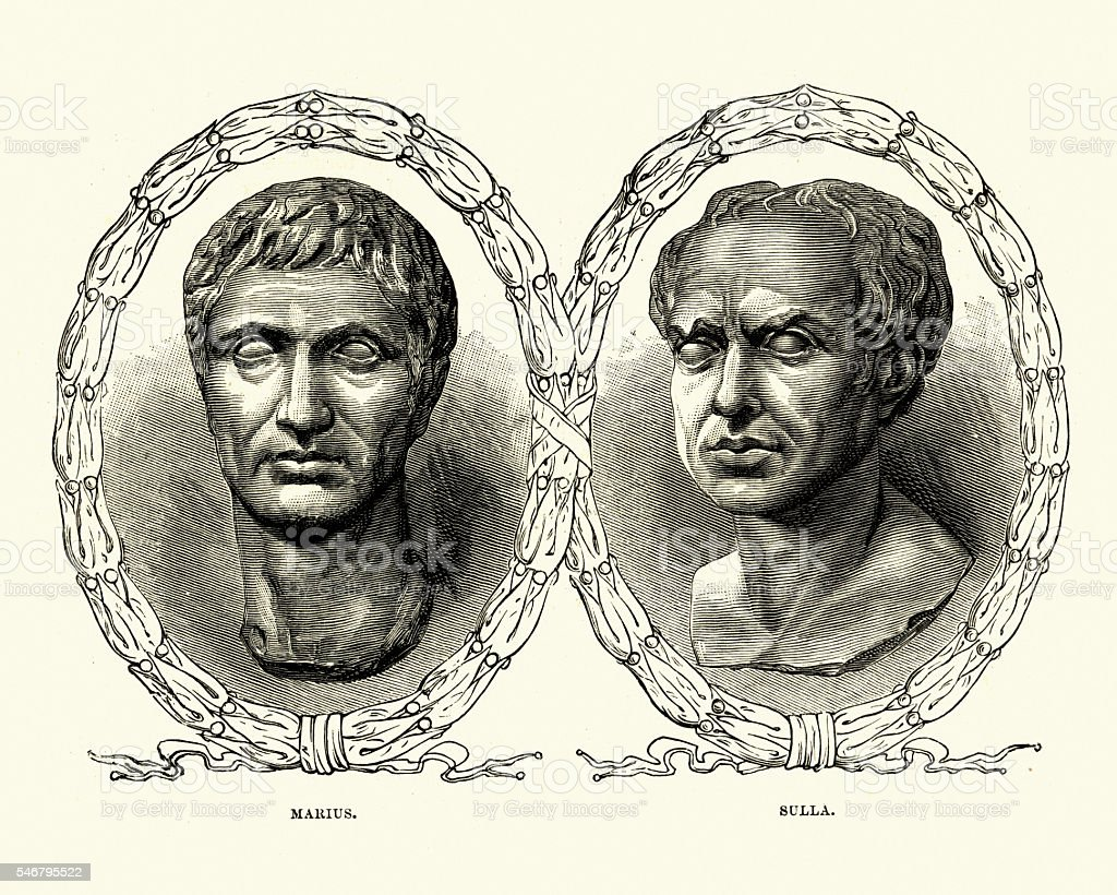 Ancient Rome - Portraits of Marius and Sulla vector art illustration