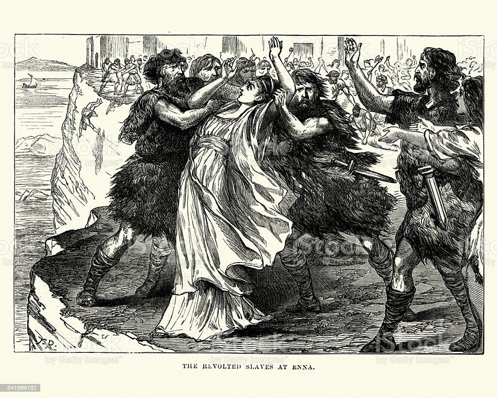 Ancient Rome - Slave Revolt at Enna vector art illustration