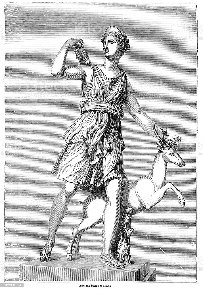 Ancient Statue of the Goddess Diana vector art illustration