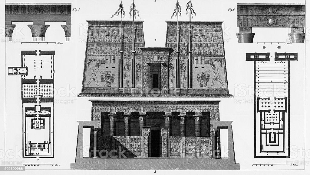 Ancient Temple of Apollinopolis Magna Engraving vector art illustration