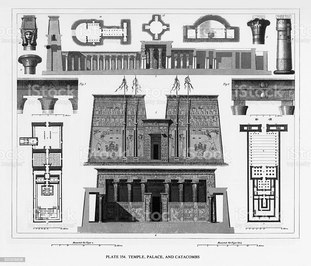 Ancient Temple, Palace and Catacombs Engraving vector art illustration