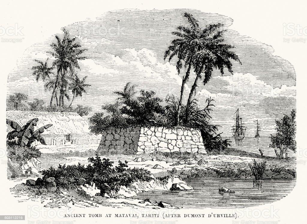 Ancient tomb at Matavai, Tahiti vector art illustration