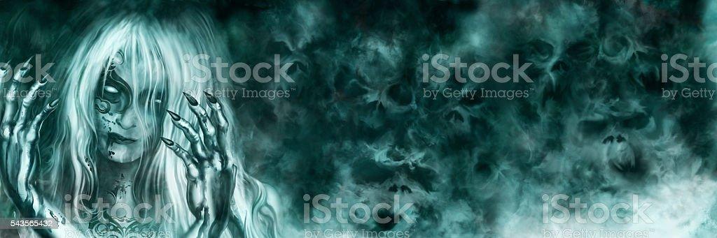 Ancient Vampire Goddess banner vector art illustration