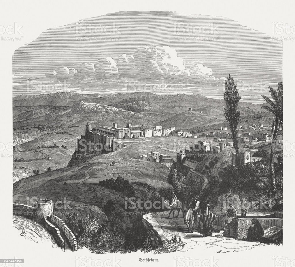Ancient view of Bethlehem, wood engraving, published in 1886 vector art illustration