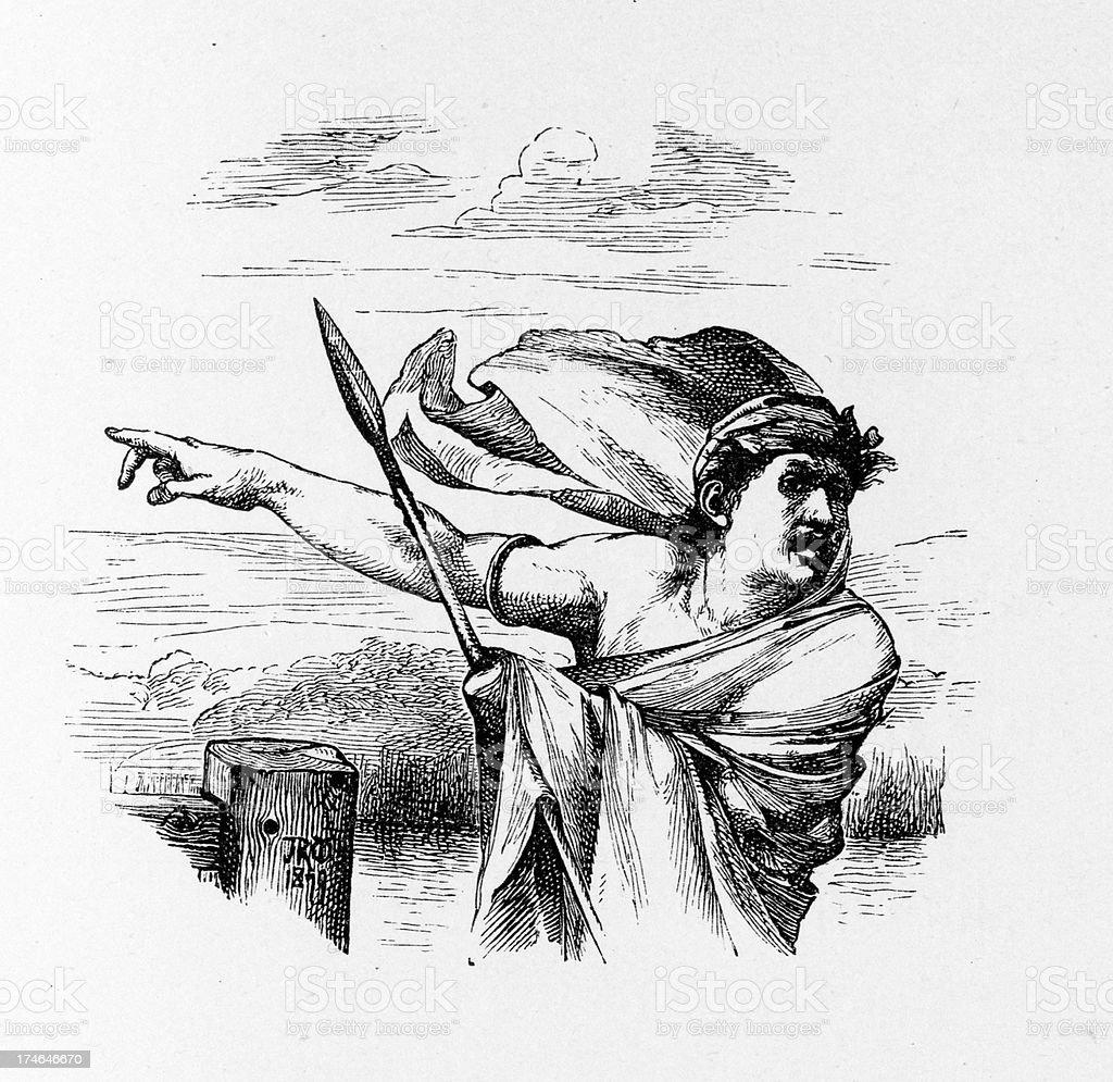 Ancient warrior royalty-free stock vector art