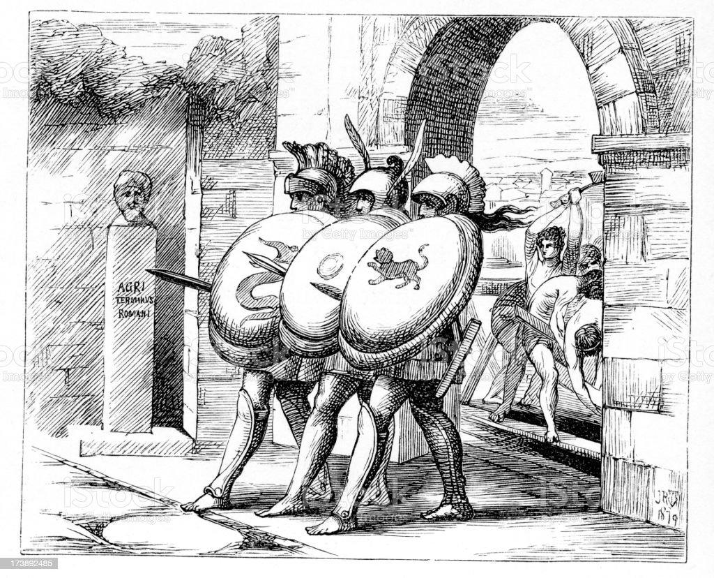 Ancient Warriors vector art illustration