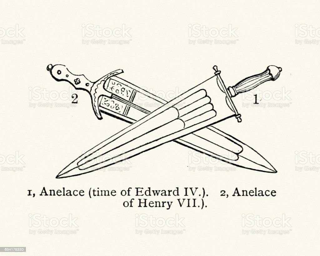 Ancient weapons - Anelace short swords vector art illustration