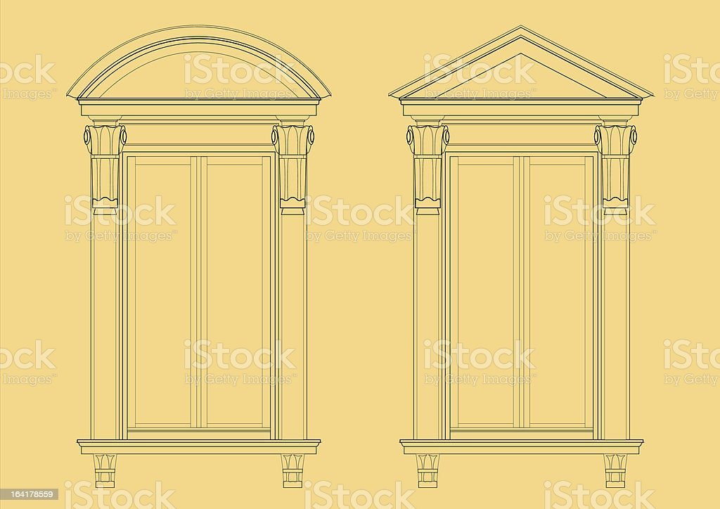 Ancient Window frame royalty-free stock vector art