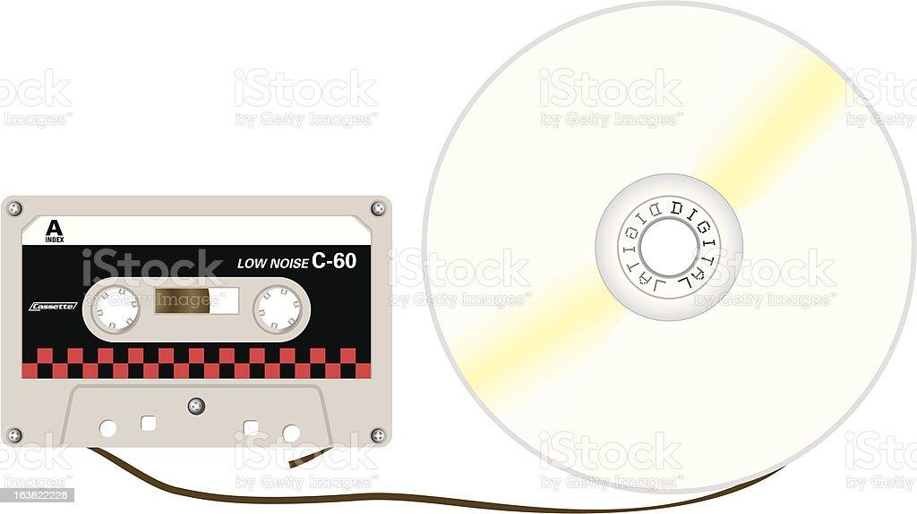 CD and Cassette Tape vector art illustration