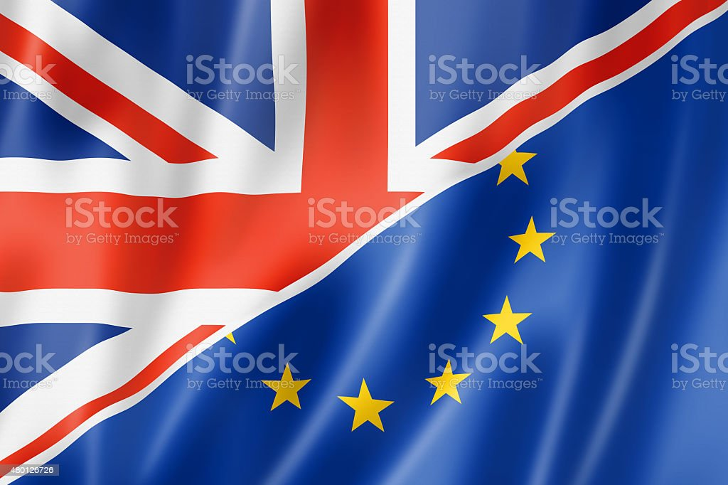 UK and Europe flag vector art illustration