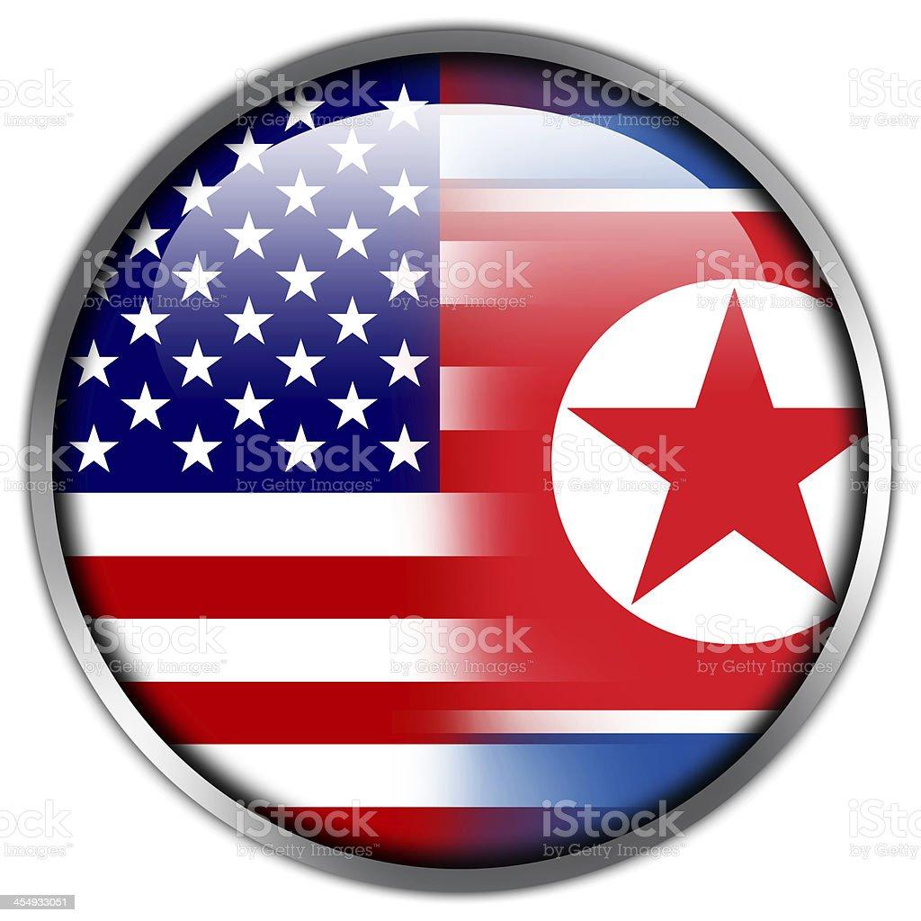 USA and North Korea Flag glossy button royalty-free stock vector art