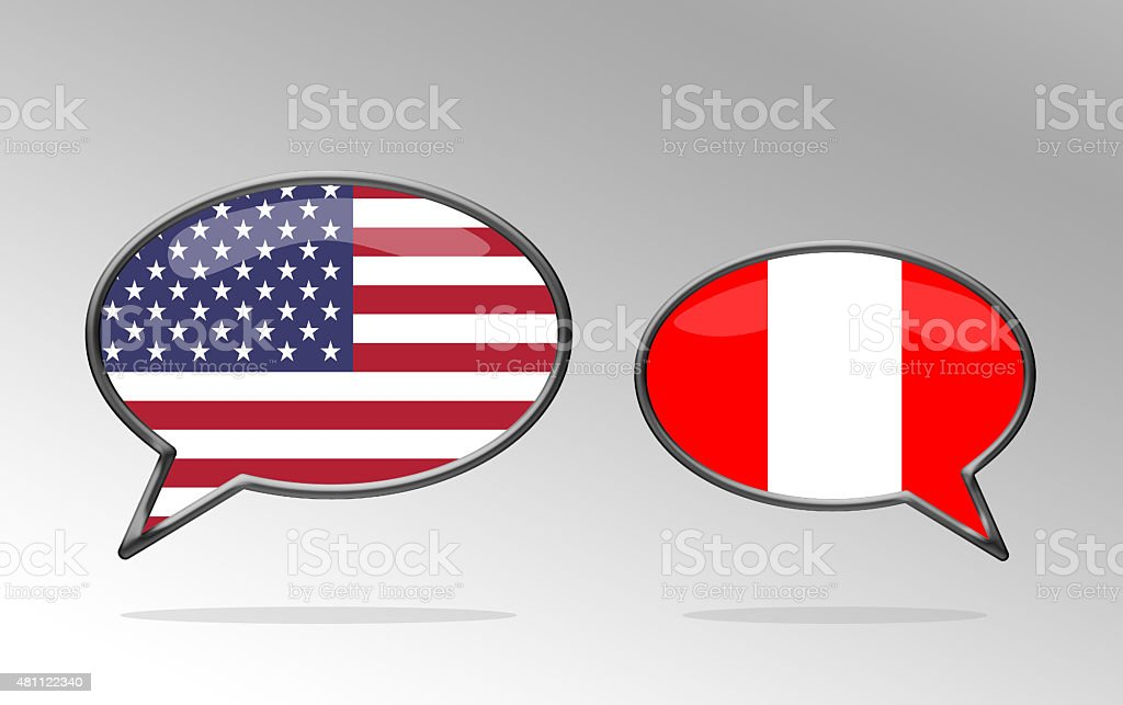 USA and Peru Language Speech Bubbles vector art illustration