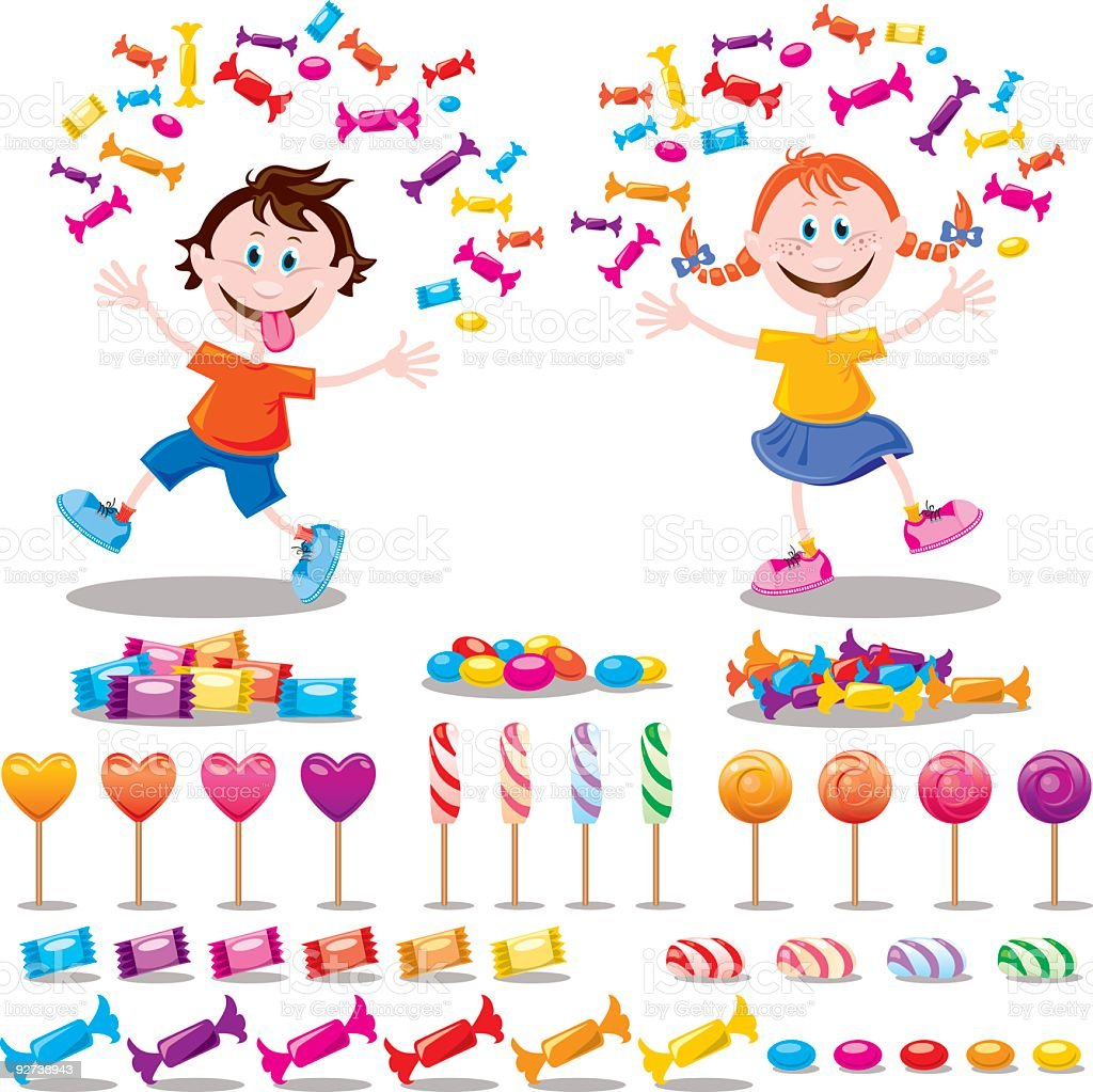 KIDS and SWEETS vector art illustration