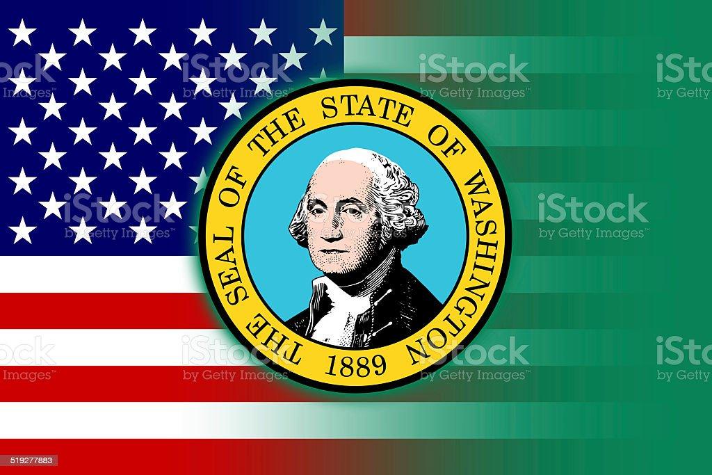 USA and Washington State Flag vector art illustration